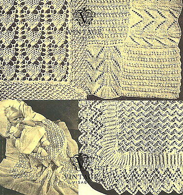 Vintage Visage knitting pattern-Make 3 lace baby heirloom christening shawls