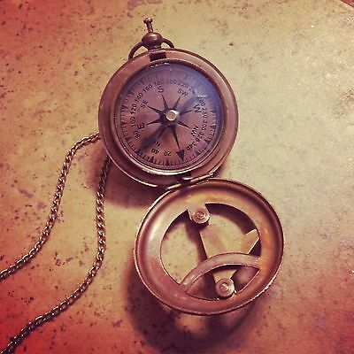HOT SALE : Vintage Style Sundial Compass Necklace Nautical Antique Brass, Glass
