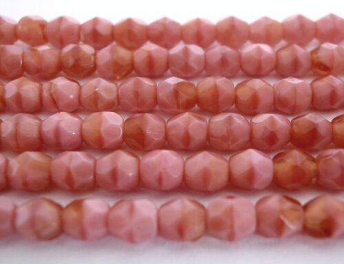 50 4mm Czech Glass Beads Coral Pink//Brown