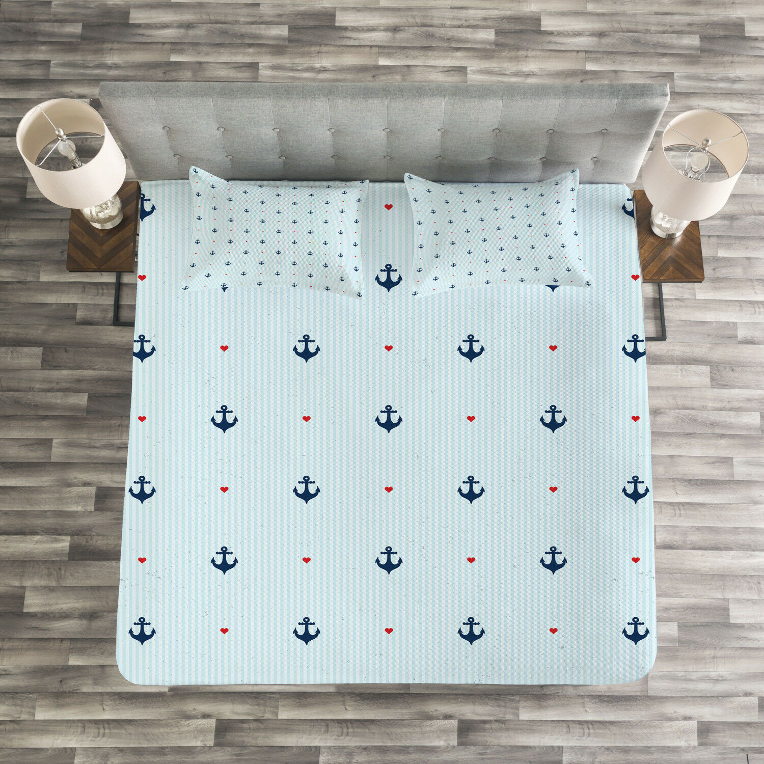 Anchor Quilted Bedspread & Pillow Shams Set, rot Hearts Nautical Print