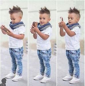 65745be76 3pcs Kids Baby Boys Short Sleeve White Tops+Jeans+Scarf Gentleman ...