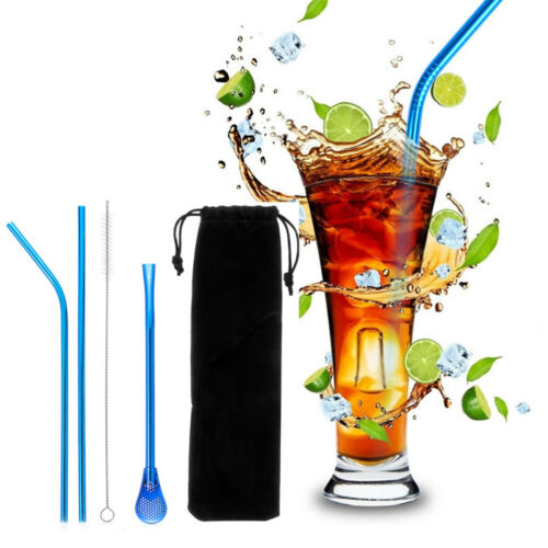 Tool Straight Bend Drinking Straws Set Metal Straw Cleaner Brush Filter Spoon