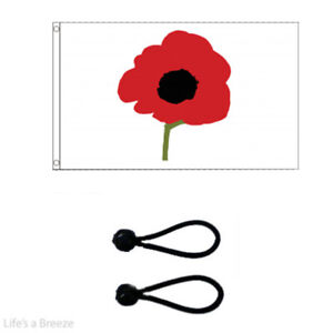 Remembrance Flag Armistice Day 5x3Ft Flag Windsocks Poles Free Ball Ties