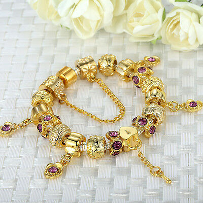 New Fashion Charm Gold Plated Beads Bracelets With Crystal For Mother's Day Gift