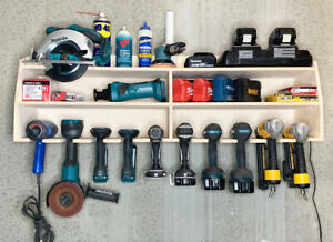 Cordless-10-Tool-Holder-Drill-Impact-Garage-Storage-Rack-Wood-Shelf-Organizer