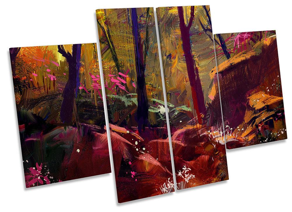 Autumn Autumn Autumn Forest Sunset Repro Framed CANVAS PRINT Four Panel Wall Art b9f77c