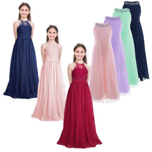 Flower Kids Girl Princess Bridesmaid Wedding Birthday Party Long Dress Ball Gown
