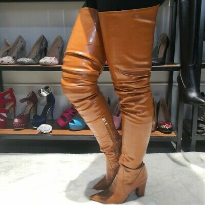 Women S Thigh High Overknee Boots Block Heel Leather Boots Black Brown Plus Size Ebay