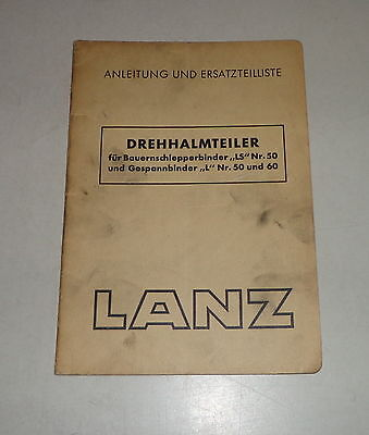 Agriculture/farming Hard-Working Operating Instructions/parts Catalog Lanz Drehhalmteiler 04/1950 Reliable Performance