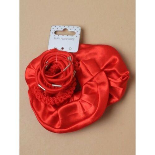 X Large Red Satin Hair Scrunchies Hair Bobbles,Hair Elastics 10pc set cgg