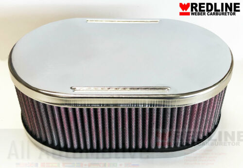 """2 1//2/"""" Tall Washable 45DCOE Carburetor Oval Air Filter Assembly WEBER 40DCOE"""