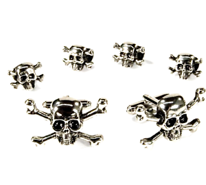 Museum Cufflinks and Studs Silver Finish