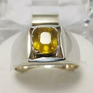 Natural African Yellow Sapphire Ring Pukhraj Stone Ring Yellow Sapphire Engagement Ring Handmade Sapphire Ring For Gift