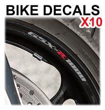 10X SUZUKI GSX 1000R GSX1000R GSXR MOTORCYCLE BIKE WHEEL STICKERS DECALS TAPE