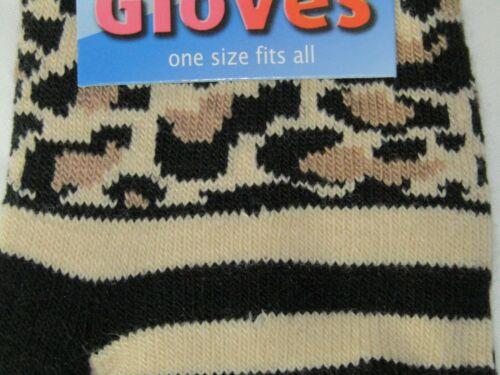 Fingerless Magic Gloves Striped Black Cream Leopard Print One Size By Flirt W2