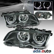 1999-2001 BMW E46 3 Series 323i 328i [LED Halo] Projector Black Headlights Pair