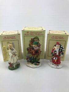The International Santa Claus Collection Figurines With Box Lot of 3 Germany AC4