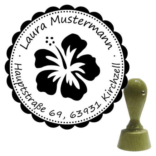 Hibiskus 1 Adressstempel Holzstempel Stempel Name rund Ø 40 mm Motiv
