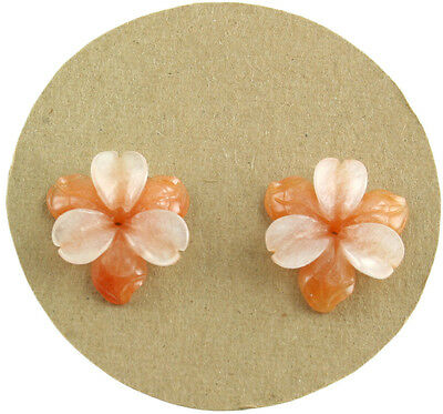Carved Gemstone Flower Natural Color Aventurine and Serpentine Jewelry Making