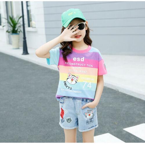 IENENS Summer Kids Girls Outfits Sets T-shirt Shorts Cotton Tops Denim Pants