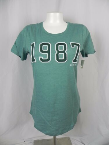 A1-93 NEW Aeropostale Women/'s Green Embroidered 1987 Logo T-Shirt