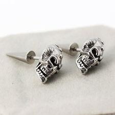 Men Women Stainless Steel Skull Head Skeleton Rivet Spike Punk Ear Stud Earring