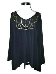 ROAMAN-039-S-Plus-Size-2X-26-28-Shirt-Top-Black-Gold-Beads-Long-Sleeve
