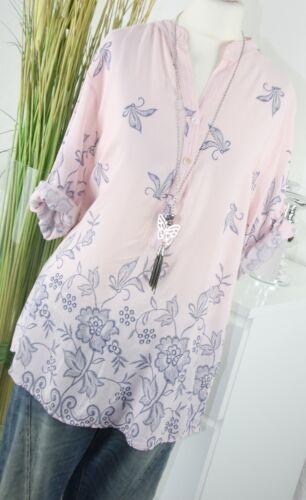 ITALY MODA Bluse FLOWER Stitched Ornament Tunkia Hemd Shirt ROSÉ L XL 40 42 Top