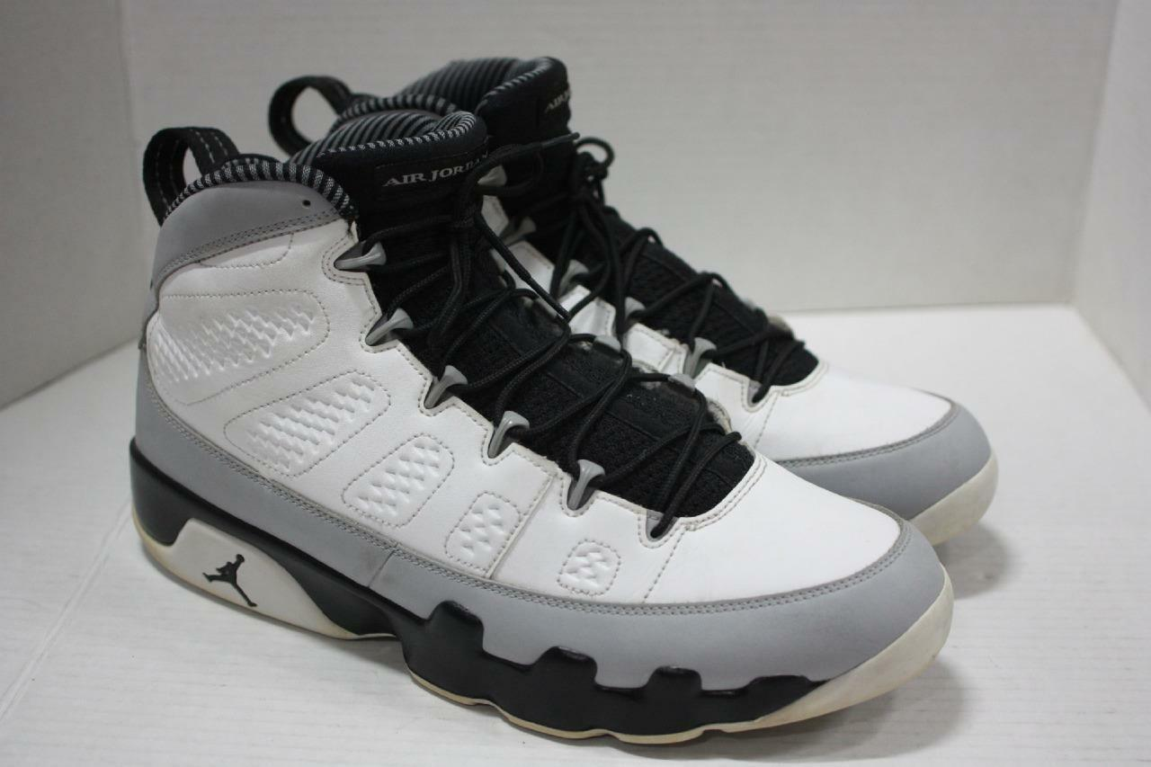Air Jordan Retro Retro Retro 9 White Black Wolf Grey Basketball shoes Sz 13 (302370 106) 7abefe