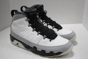 classic b6910 e4ad2 Image is loading Air-Jordan-Retro-9-White-Black-Wolf-Grey-
