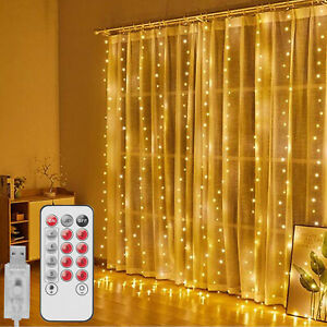 9.8*9.8ft 300LED Curtain Fairy Light USB String Hanging Light Xmas Party Wedding
