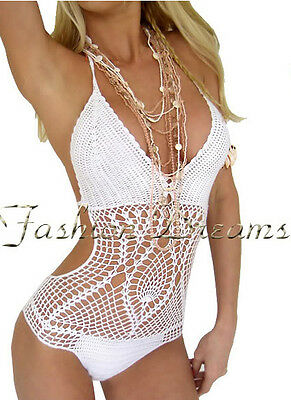 SEXY WHITE BOY SHORTS CROCHET KNIT MONOKINI LINED SWIMWEAR SWIMSUIT BIKINI NEW M