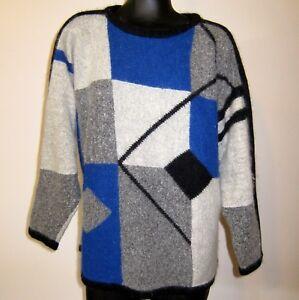 Block Color Oversized M Sweater Cashmere Angora Vtg 90s Boat Sleeve Neck Dolman Et6wqTc4