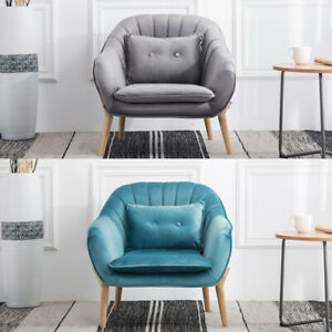 Swell Details About Modern Velvet Accent Chair Armchair Upholstered Wood Legs Cushion Living Bedroom Creativecarmelina Interior Chair Design Creativecarmelinacom