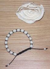 Shamballa Bracelet  Black Crystal Diamante Rhinestones and Silver Stardust Beads