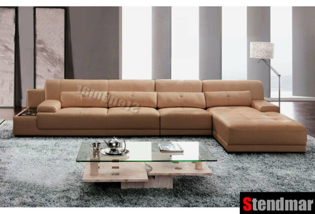 3pc Modern Genuine Leather Sectional Sofa Set S2630 For Sale Online