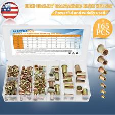 165x Mixed Rivet Nut Tool Kits Color Steel Rivnut Insert Threaded Nutsert M3 12