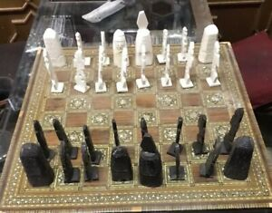 Moroccan Hand Chess Board Mosaic Inlay Mother of Pearl W Chess Camel Bone Parts
