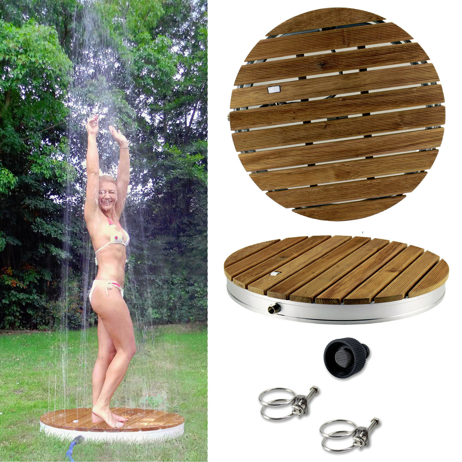 teakholz gartendusche au endusche pooldusche garten pool dusche outdoor shower ebay. Black Bedroom Furniture Sets. Home Design Ideas