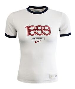 eeecc0c329a Nike 1899 FC Barcelona Womens Off White Short Sleeve Top T-Shirt ...