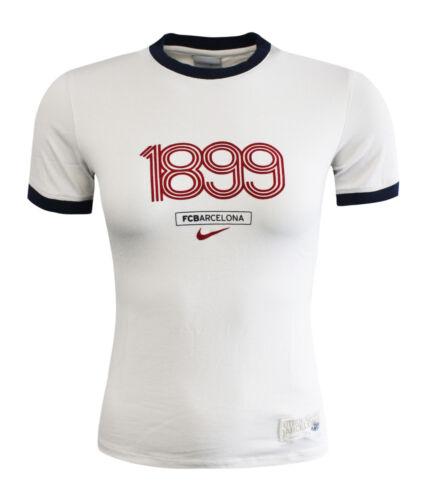 Nike 1899 FC Barcelona Womens Off White Short Sleeve Top T-Shirt 145863 072 UA57