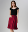 Women Fashion Retro Chiffon Elastic Waist Solid Pleated Midi Skirt New