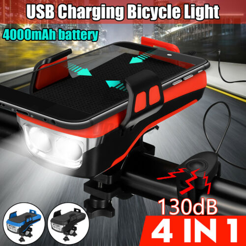 4 in1 Bicycle headlight Phone Holder Bike Horn Bell w// 4000mAh Battery T6 LED
