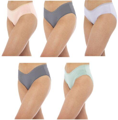 Ladies 5 Pack Hi Leg Briefs Lace Underwear Knickers Frilly Women UK Sizes 12-18