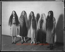 "1930S LONG HAIR CONTEST 4""X5"" LARGE FORMAT GLASS NEGATIVE STRANGE WEIRD SURREAL"