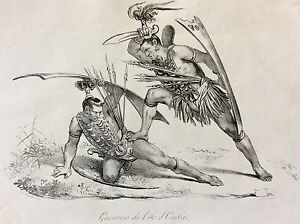 Pacific-Indonesia-Island-Ombai-Warriors-Colonialism-Dispatch-Engraving-1836
