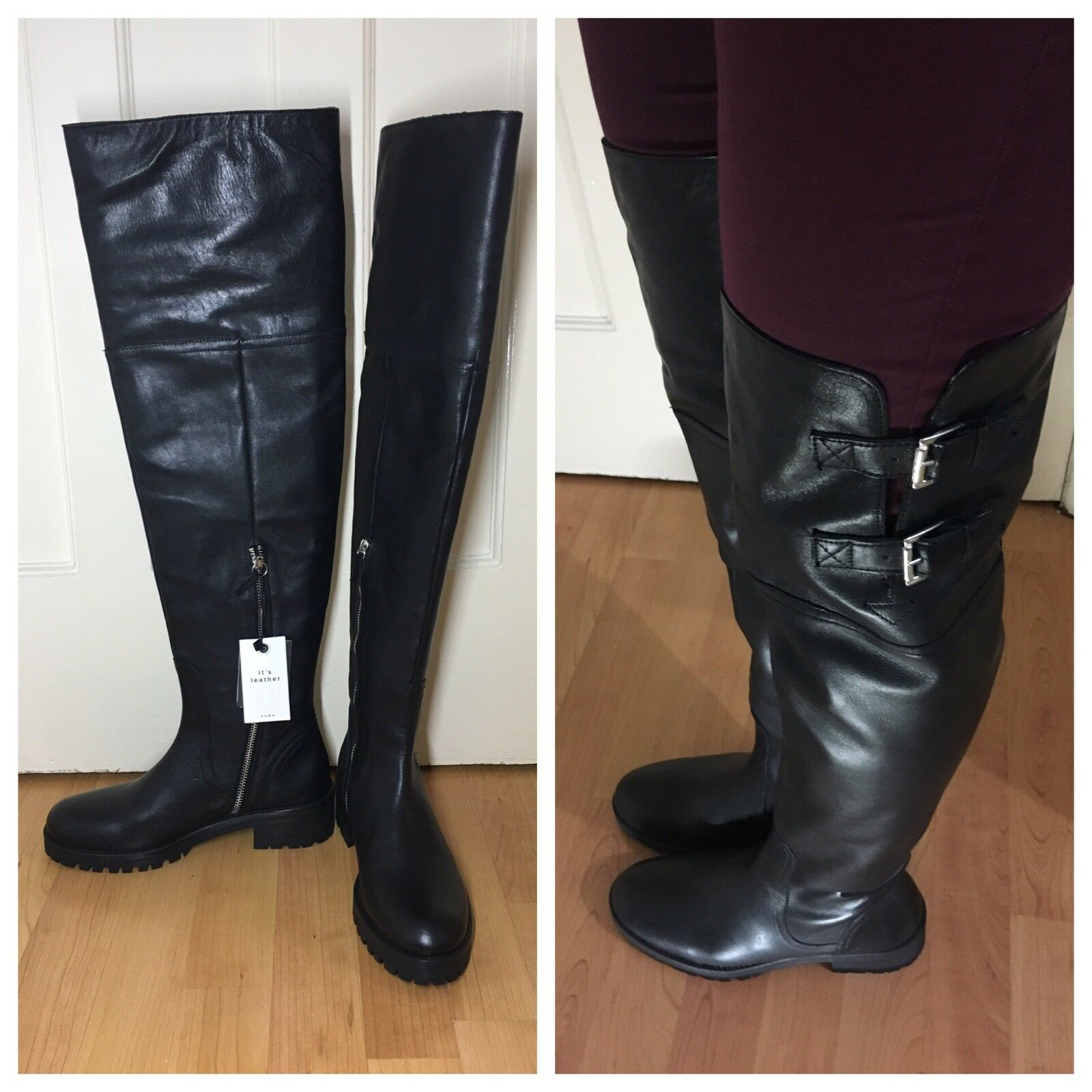 ZARA NEU BLACK REAL LEATHER OVER THE KNEE FLAT BUCKLE BOOTS SIZE 3