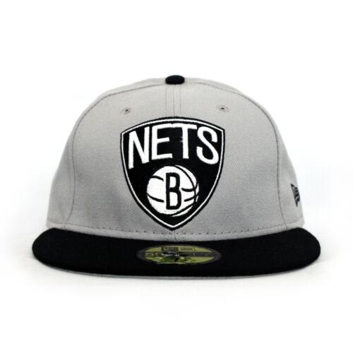 Brooklyn NETS New Era 59Fifty Fitted NBA Hat Grey//Black