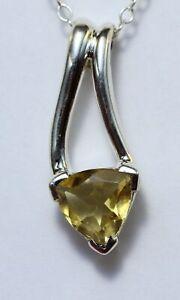 Edler-1-3-Carat-Citrin-Anhaenger-925-Silber-Collier-Kette-gelber-Edelstein