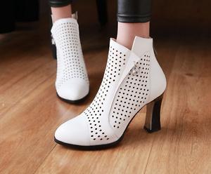 Vintage Women Sandals Ankle Boots Sandals Women Block Heel Pointed Toe Summer Shoes Pumps 6fffce